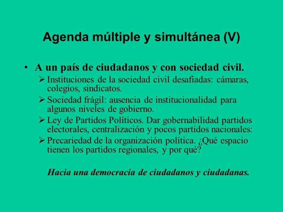 Agenda múltiple y simultánea (V) A un país de ciudadanos y con sociedad civil. Instituciones de la sociedad civil desafiadas: cámaras, colegios, sindi