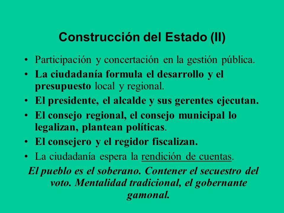 Construcción del Estado (II) Participación y concertación en la gestión pública. La ciudadanía formula el desarrollo y el presupuesto local y regional