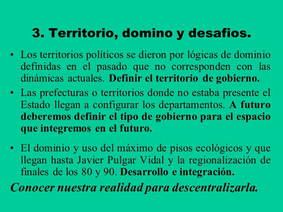 3. Territorio, domino y desafios. Los territorios políticos se dieron por lógicas de dominio definidas en el pasado que no corresponden con las dinámi