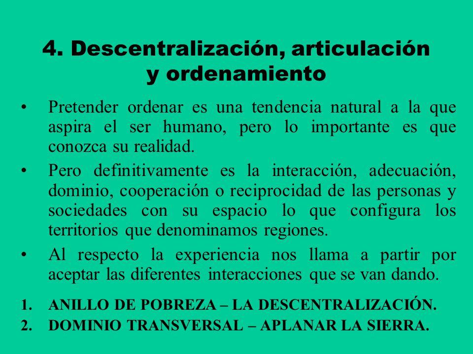 4. Descentralización, articulación y ordenamiento Pretender ordenar es una tendencia natural a la que aspira el ser humano, pero lo importante es que
