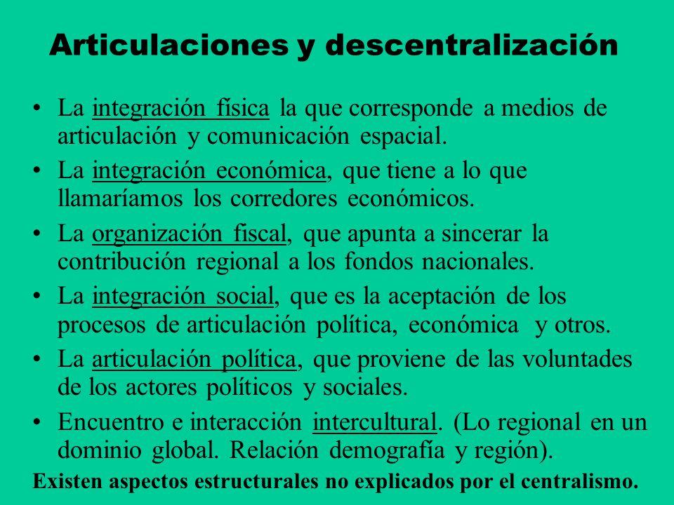 Articulaciones y descentralización La integración física la que corresponde a medios de articulación y comunicación espacial. La integración económica