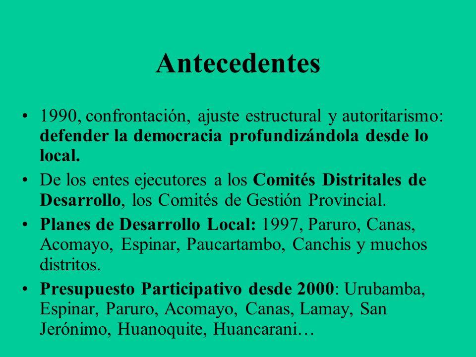Antecedentes (II) 2001, el camino abierto por Ilo, VES, Cusco, Cajamarca y otras experiencias se hace política de Estado: DS 001, 014 Promudeh-2001, Mesas de Concertación para la Lucha Contra la Pobreza.