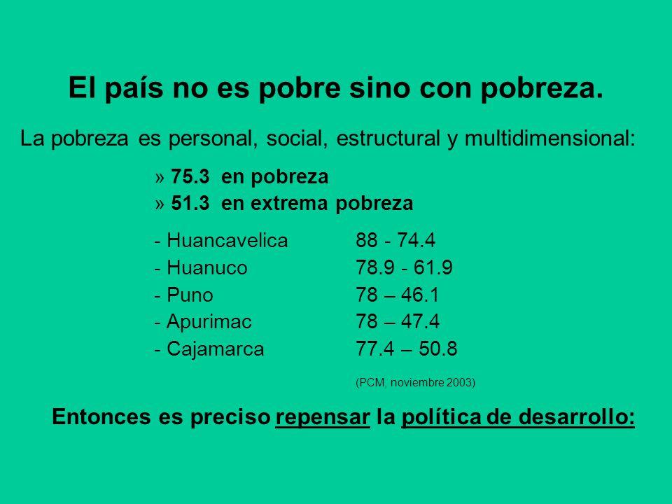 El país no es pobre sino con pobreza. La pobreza es personal, social, estructural y multidimensional: »75.3en pobreza »51.3en extrema pobreza - Huanca