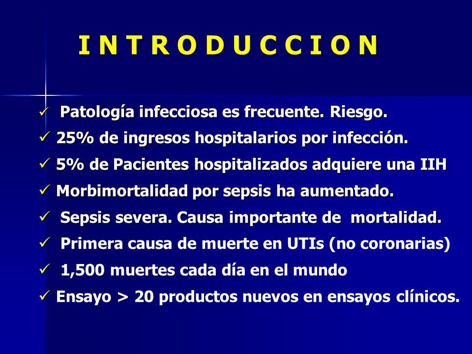 I N T R O D U C C I O N Patología infecciosa es frecuente. Riesgo. Patología infecciosa es frecuente. Riesgo. 25% de ingresos hospitalarios por infecc