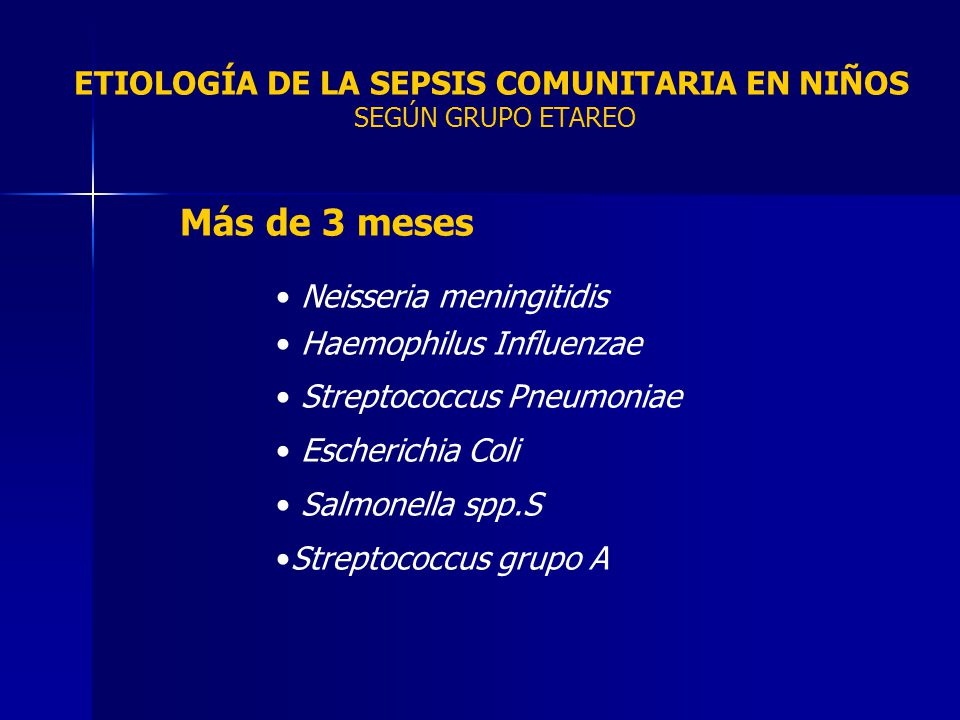 Más de 3 meses Neisseria meningitidis Haemophilus Influenzae Streptococcus Pneumoniae Escherichia Coli Salmonella spp.S Streptococcus grupo A ETIOLOGÍ