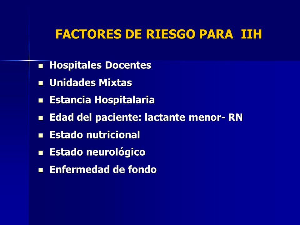 FACTORES DE RIESGO PARA IIH Hospitales Docentes Hospitales Docentes Unidades Mixtas Unidades Mixtas Estancia Hospitalaria Estancia Hospitalaria Edad d