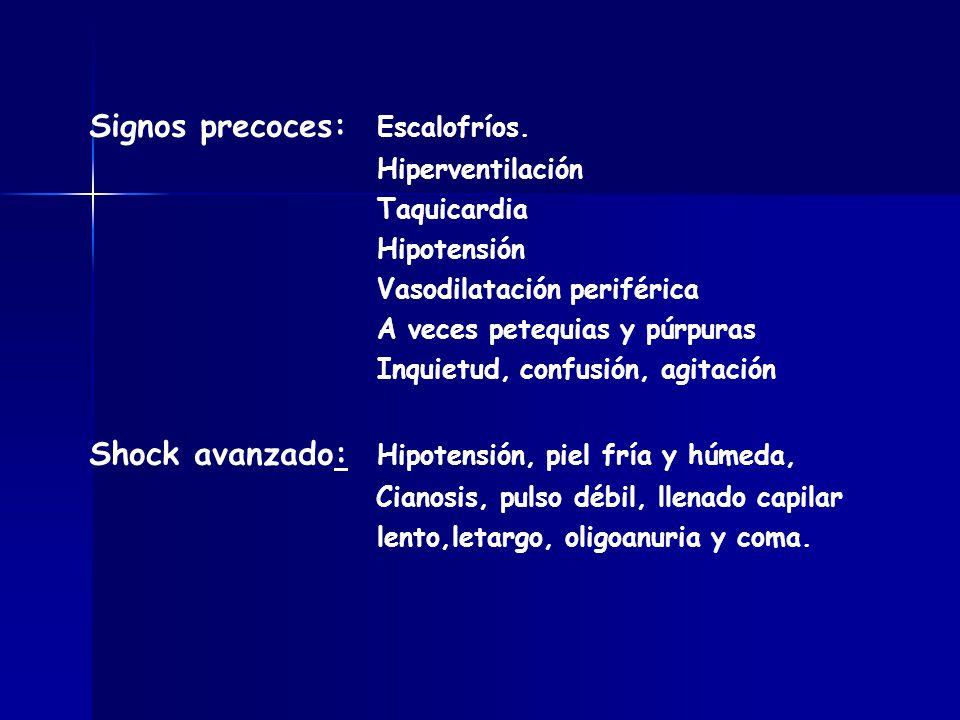 Signos precoces: Escalofríos. Hiperventilación Taquicardia Hipotensión Vasodilatación periférica A veces petequias y púrpuras Inquietud, confusión, ag