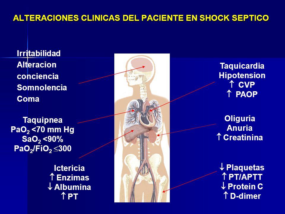 ALTERACIONES CLINICAS DEL PACIENTE EN SHOCK SEPTICO Taquicardia Hipotension CVP PAOP Ictericia Enzimas Albumina PT Irritabilidad Alteracion conciencia