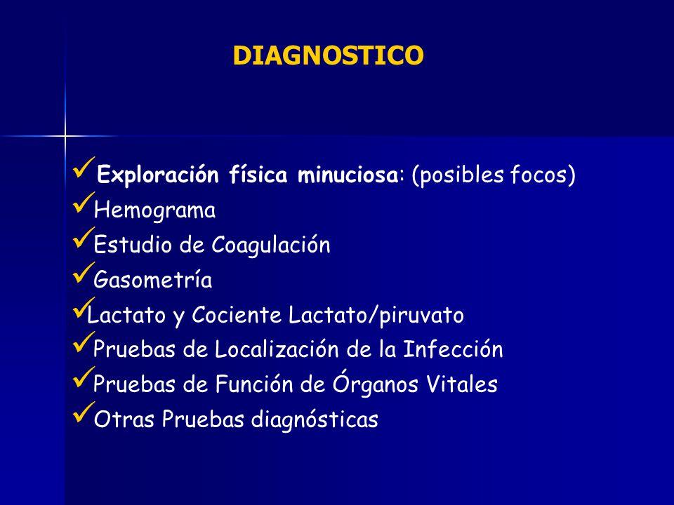 DIAGNOSTICO Exploración física minuciosa: (posibles focos) Hemograma Estudio de Coagulación Gasometría Lactato y Cociente Lactato/piruvato Pruebas de