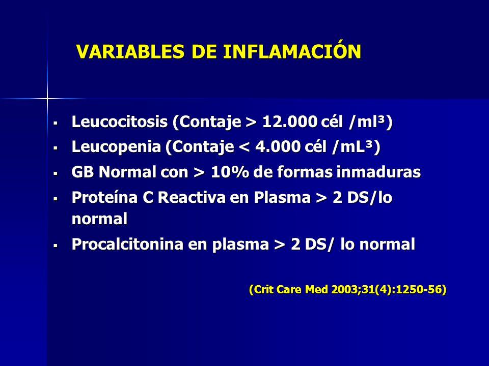 Leucocitosis (Contaje > 12.000 cél /ml³) Leucocitosis (Contaje > 12.000 cél /ml³) Leucopenia (Contaje < 4.000 cél /mL³) Leucopenia (Contaje < 4.000 cé