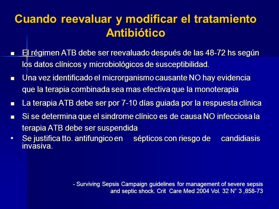 Cuando reevaluar y modificar el tratamiento Antibiótico El régimen ATB debe ser reevaluado después de las 48-72 hs según los datos clínicos y microbio