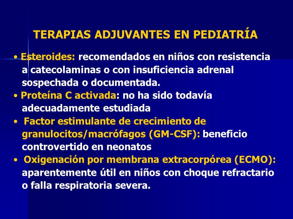 TERAPIAS ADJUVANTES EN PEDIATRÍA Esteroides: recomendados en niños con resistencia a catecolaminas o con insuficiencia adrenal sospechada o documentad