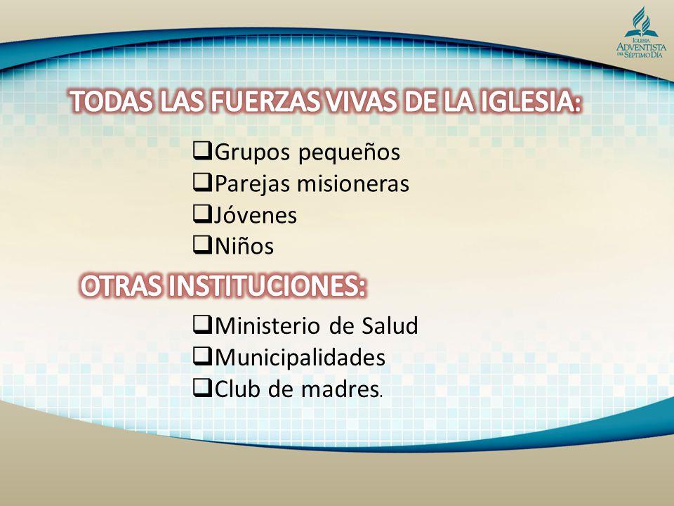 Grupos pequeños Parejas misioneras Jóvenes Niños Ministerio de Salud Municipalidades Club de madres.