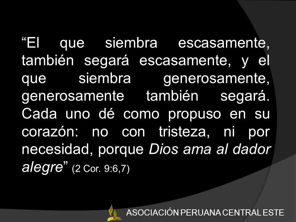 El que siembra escasamente, también segará escasamente, y el que siembra generosamente, generosamente también segará.
