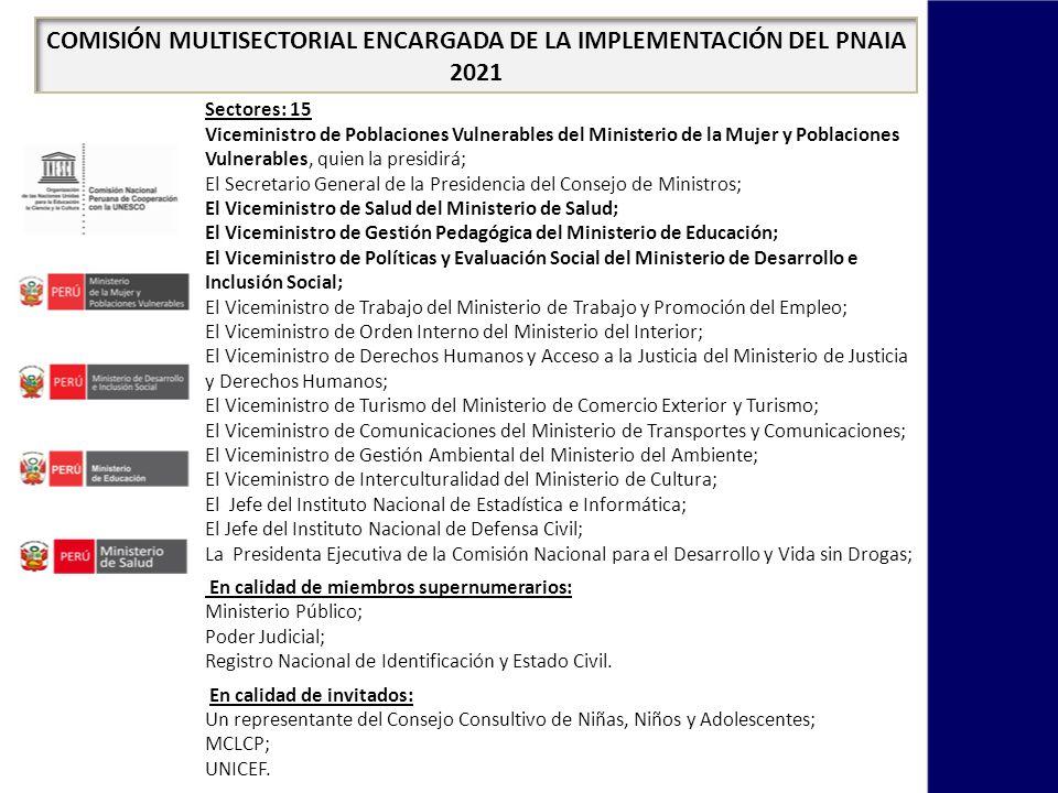 COMISIÓN MULTISECTORIAL ENCARGADA DE LA IMPLEMENTACIÓN DEL PNAIA 2021 FINALIDAD Monitorear y contribuir al cumplimiento eficaz de las metas emblemáticas, objetivos, resultados esperados, metas y estrategias de implementación del PNAIA 2021.