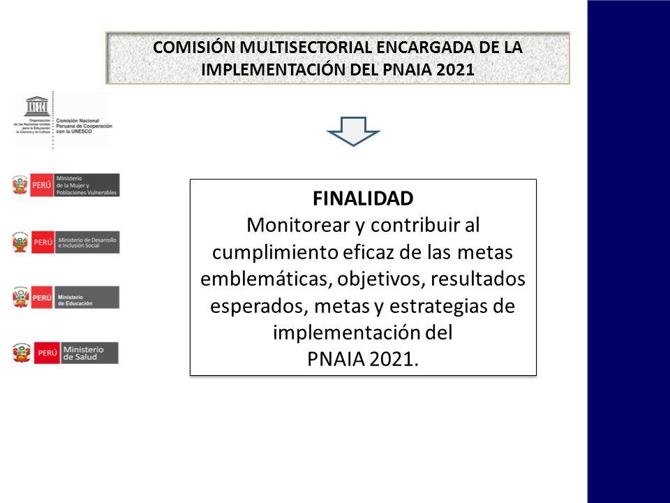 COMISIÓN MULTISECTORIAL ENCARGADA DE LA IMPLEMENTACIÓN DEL PNAIA 2021 FINALIDAD Monitorear y contribuir al cumplimiento eficaz de las metas emblemátic