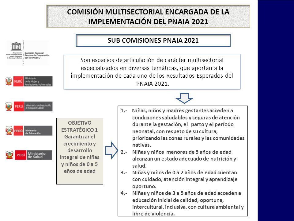 COMISIÓN MULTISECTORIAL ENCARGADA DE LA IMPLEMENTACIÓN DEL PNAIA 2021 Son espacios de articulación de carácter multisectorial especializados en diversas temáticas, que aportan a la implementación de cada uno de los Resultados Esperados del PNAIA 2021.