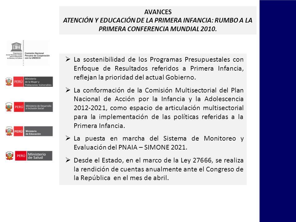 AVANCES ATENCIÓN Y EDUCACIÓN DE LA PRIMERA INFANCIA: RUMBO A LA PRIMERA CONFERENCIA MUNDIAL 2010. La sostenibilidad de los Programas Presupuestales co