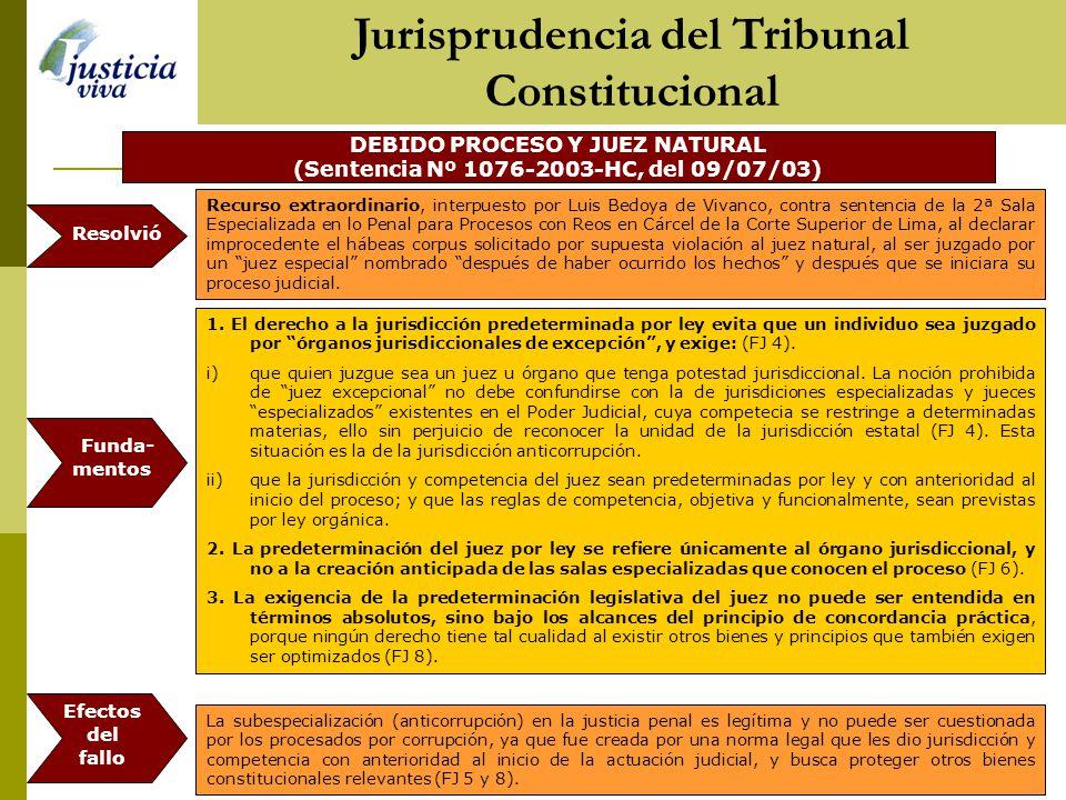 DEBIDO PROCESO Y JUEZ NATURAL (Sentencia Nº 1076-2003-HC, del 09/07/03) 1.