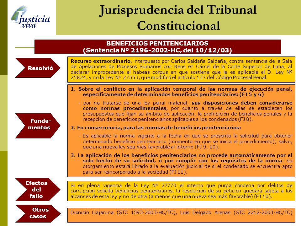 BENEFICIOS PENITENCIARIOS (Sentencia Nº 2196-2002-HC, del 10/12/03) 1.