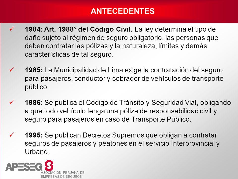 ASOCIACION PERUANA DE EMPRESAS DE SEGUROS 1984: Art. 1988° del Código Civil. La ley determina el tipo de daño sujeto al régimen de seguro obligatorio,