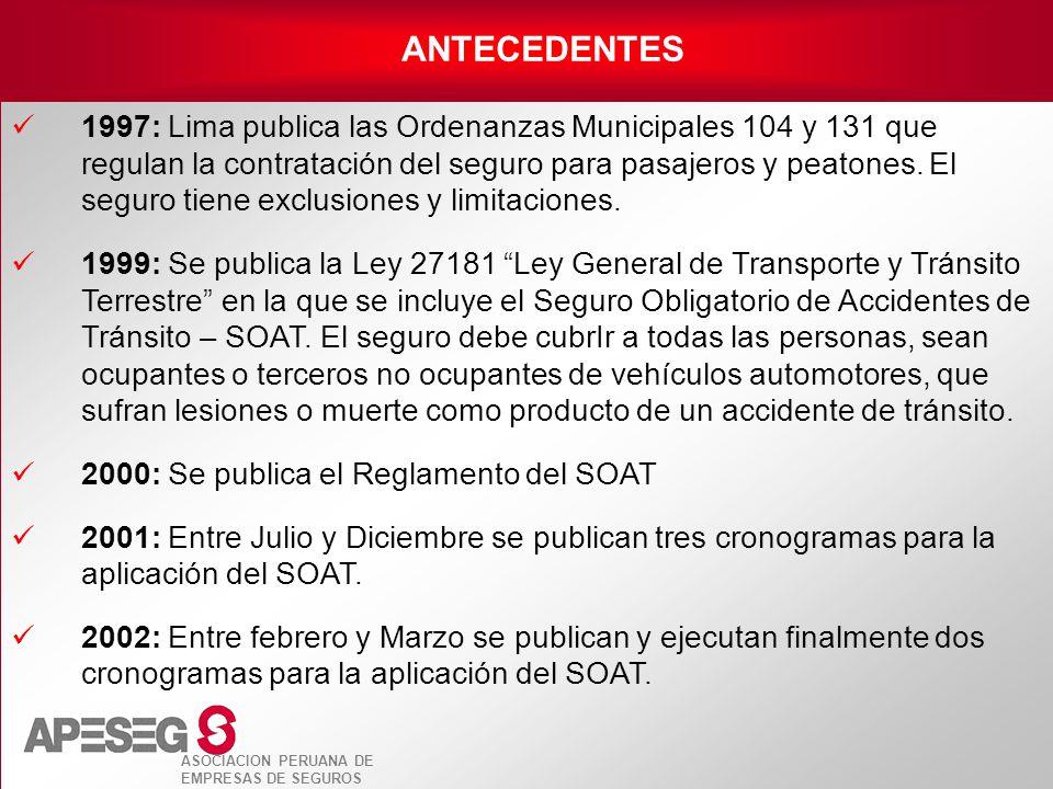 ASOCIACION PERUANA DE EMPRESAS DE SEGUROS 1997: Lima publica las Ordenanzas Municipales 104 y 131 que regulan la contratación del seguro para pasajero