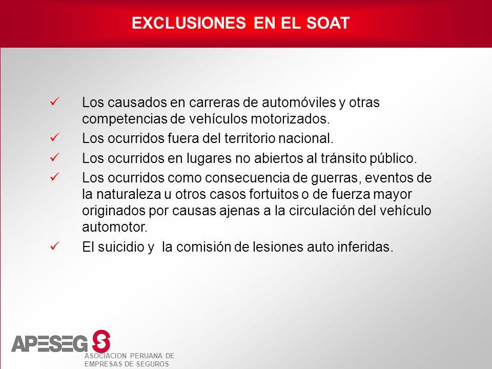 ASOCIACION PERUANA DE EMPRESAS DE SEGUROS EXCLUSIONES EN EL SOAT Los causados en carreras de automóviles y otras competencias de vehículos motorizados