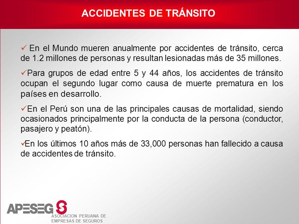 ASOCIACION PERUANA DE EMPRESAS DE SEGUROS En el Mundo mueren anualmente por accidentes de tránsito, cerca de 1.2 millones de personas y resultan lesio
