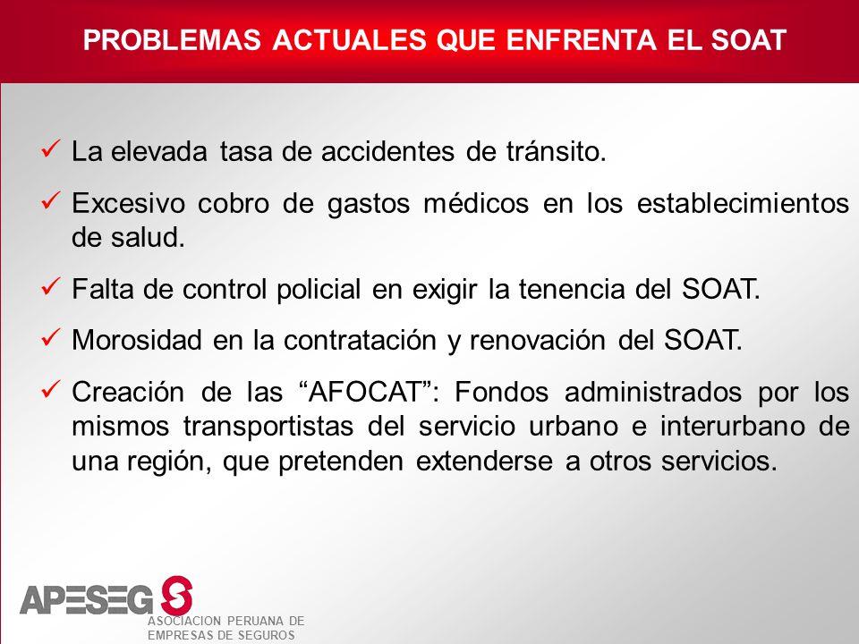 ASOCIACION PERUANA DE EMPRESAS DE SEGUROS La elevada tasa de accidentes de tránsito. Excesivo cobro de gastos médicos en los establecimientos de salud