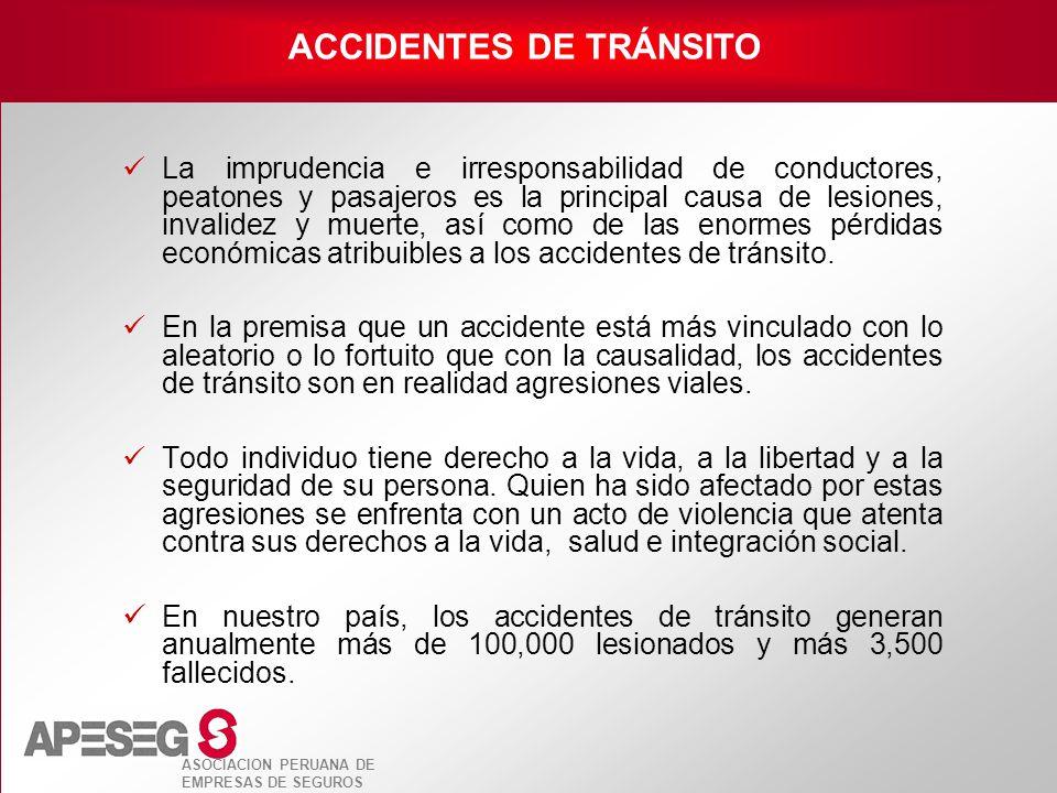 ASOCIACION PERUANA DE EMPRESAS DE SEGUROS La imprudencia e irresponsabilidad de conductores, peatones y pasajeros es la principal causa de lesiones, i