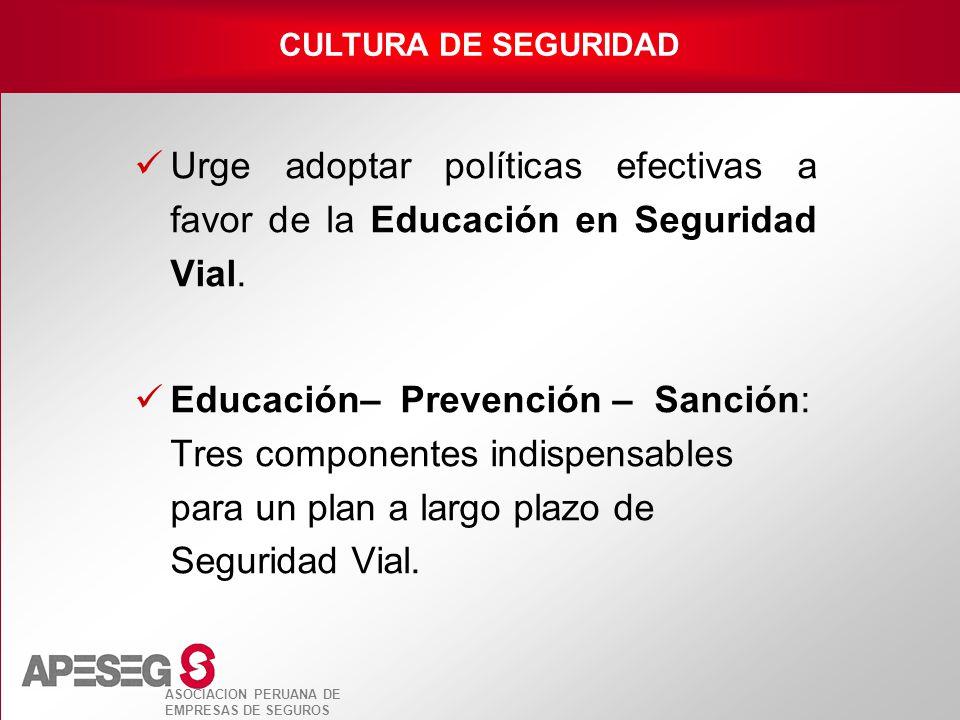 ASOCIACION PERUANA DE EMPRESAS DE SEGUROS Urge adoptar políticas efectivas a favor de la Educación en Seguridad Vial. Educación– Prevención – Sanción: