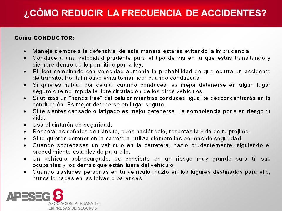 ASOCIACION PERUANA DE EMPRESAS DE SEGUROS ¿CÓMO REDUCIR LA FRECUENCIA DE ACCIDENTES?