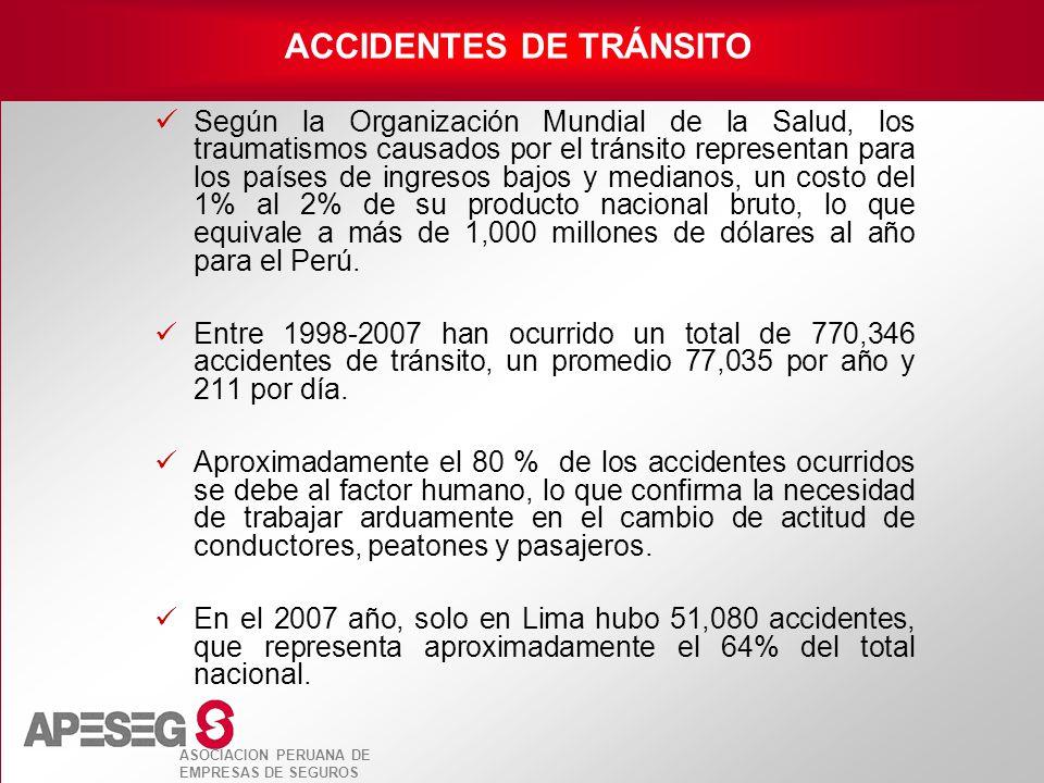 ASOCIACION PERUANA DE EMPRESAS DE SEGUROS Según la Organización Mundial de la Salud, los traumatismos causados por el tránsito representan para los pa