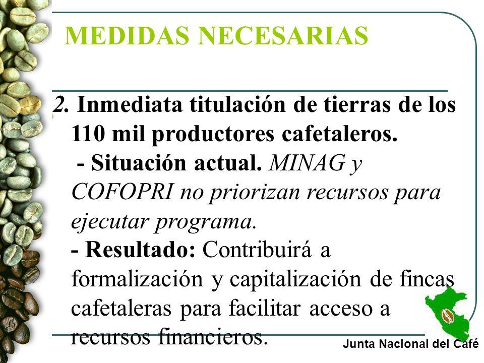 MEDIDAS MEDIDAS NECESARIAS Junta Nacional del Café 2. Inmediata titulación de tierras de los 110 mil productores cafetaleros. - Situación actual. MINA