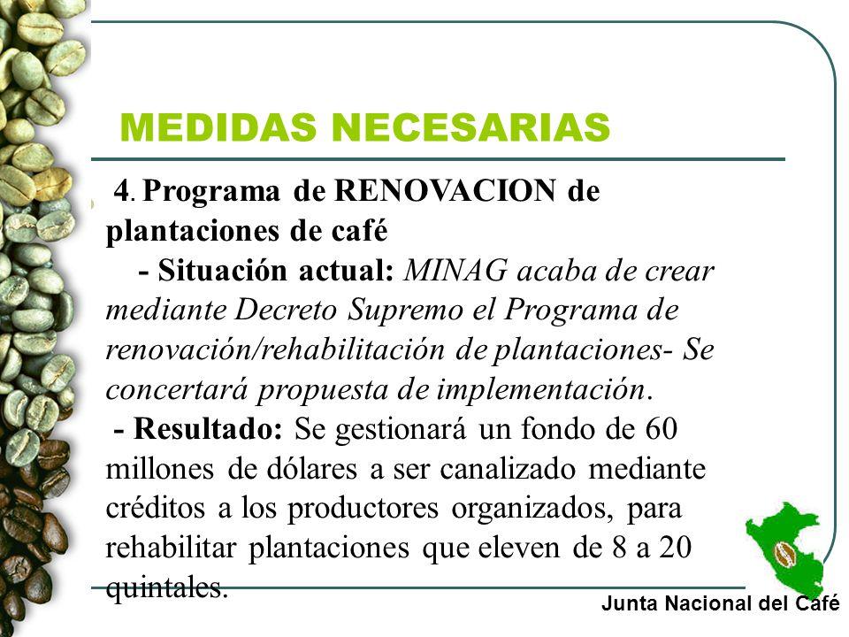 MEDIDAS NECESARIAS Junta Nacional del Café 4. Programa de RENOVACION de plantaciones de café - Situación actual: MINAG acaba de crear mediante Decreto