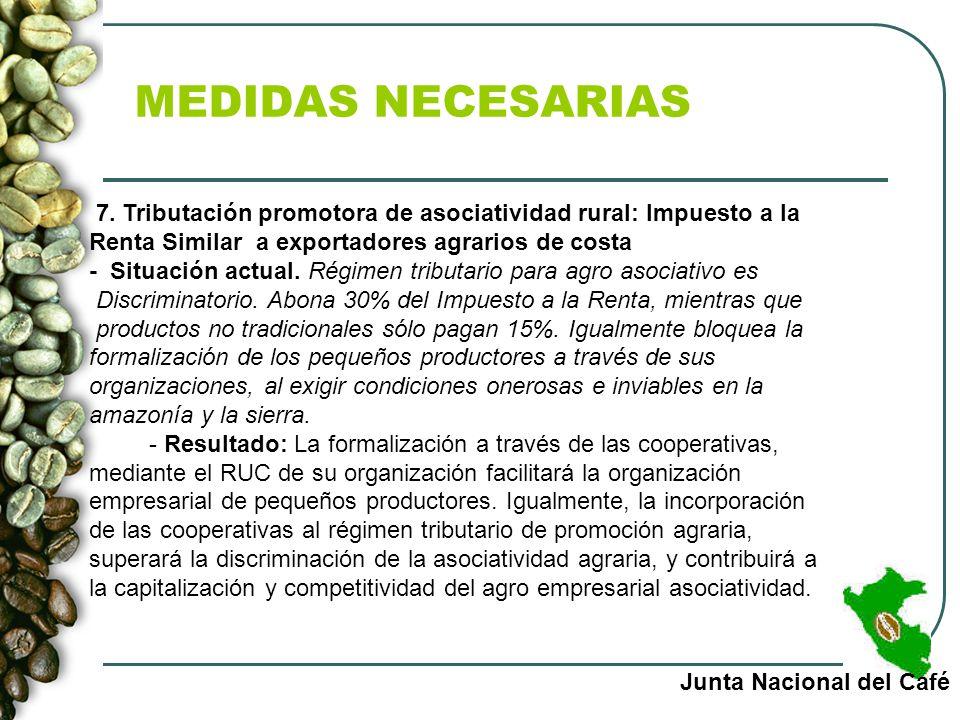 MEDIDAS NECESARIAS Junta Nacional del Café 7. Tributación promotora de asociatividad rural: Impuesto a la Renta Similar a exportadores agrarios de cos