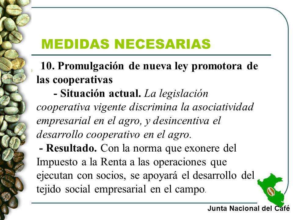 MEDIDAS NECESARIAS Junta Nacional del Café 10. Promulgación de nueva ley promotora de las cooperativas - Situación actual. La legislación cooperativa