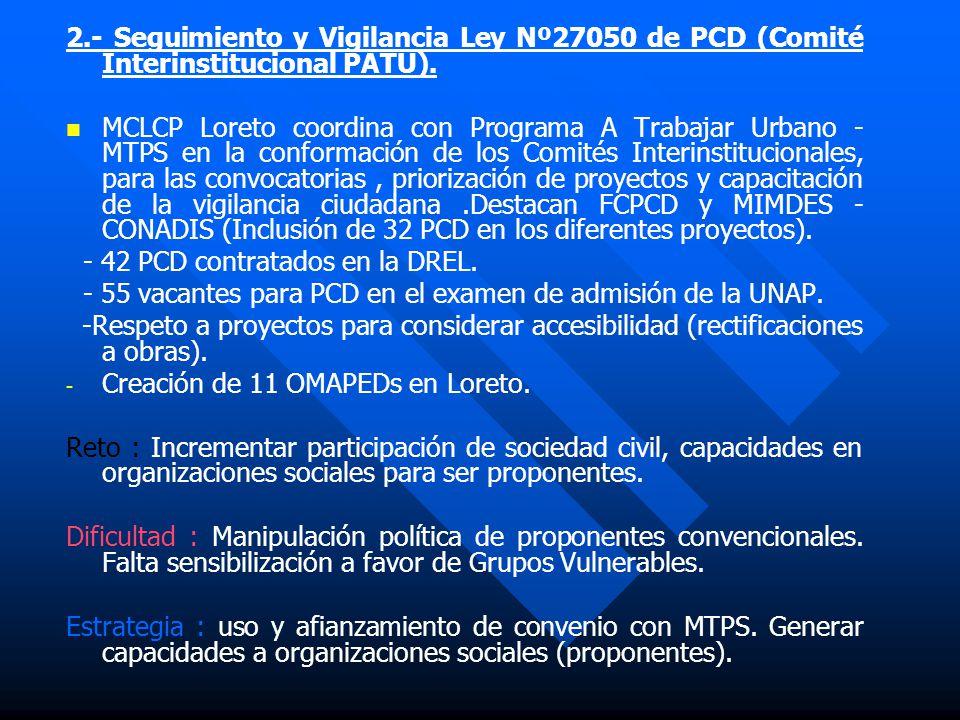 Descripción de Experiencias más Destacadas 1.- Comité de Adquisiciones PRONAA Del 2002 al 2004 la sociedad civil participa en los procesos de adquisic