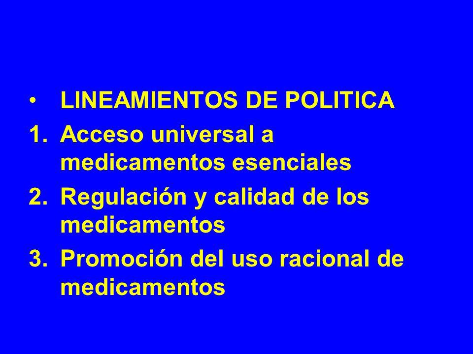 LINEAMIENTOS DE POLITICA 1.Acceso universal a medicamentos esenciales 2.Regulación y calidad de los medicamentos 3.Promoción del uso racional de medic