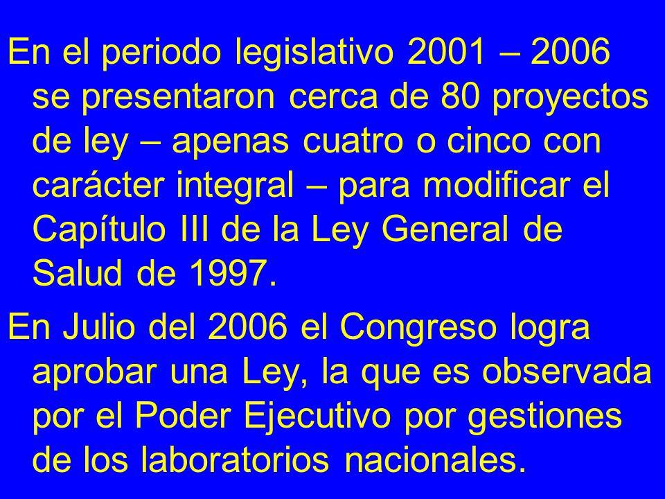 En el periodo legislativo 2001 – 2006 se presentaron cerca de 80 proyectos de ley – apenas cuatro o cinco con carácter integral – para modificar el Ca