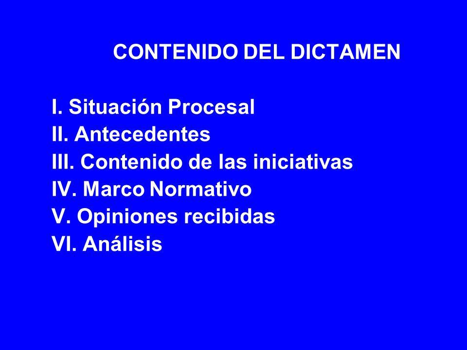 CONTENIDO DEL DICTAMEN I. Situación Procesal II. Antecedentes III. Contenido de las iniciativas IV. Marco Normativo V. Opiniones recibidas VI. Análisi