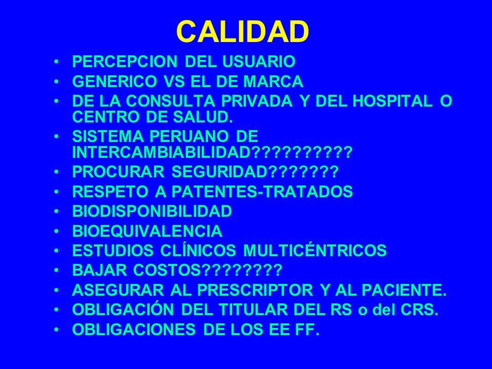 CALIDAD PERCEPCION DEL USUARIO GENERICO VS EL DE MARCA DE LA CONSULTA PRIVADA Y DEL HOSPITAL O CENTRO DE SALUD. SISTEMA PERUANO DE INTERCAMBIABILIDAD?
