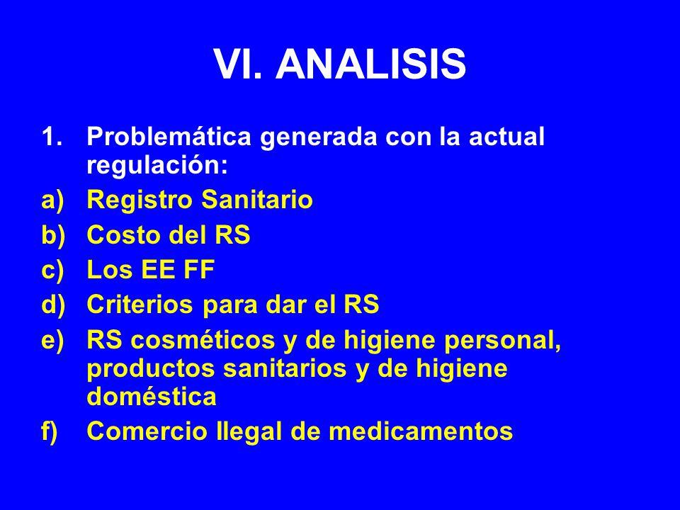 VI. ANALISIS 1.Problemática generada con la actual regulación: a)Registro Sanitario b)Costo del RS c)Los EE FF d)Criterios para dar el RS e)RS cosméti