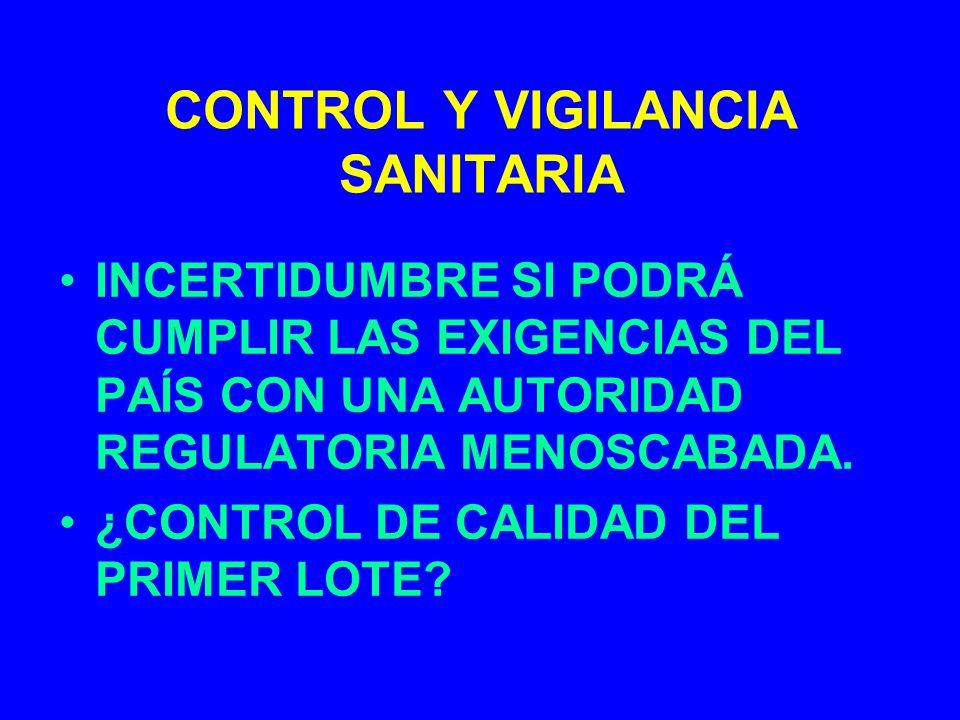 CONTROL Y VIGILANCIA SANITARIA INCERTIDUMBRE SI PODRÁ CUMPLIR LAS EXIGENCIAS DEL PAÍS CON UNA AUTORIDAD REGULATORIA MENOSCABADA. ¿CONTROL DE CALIDAD D