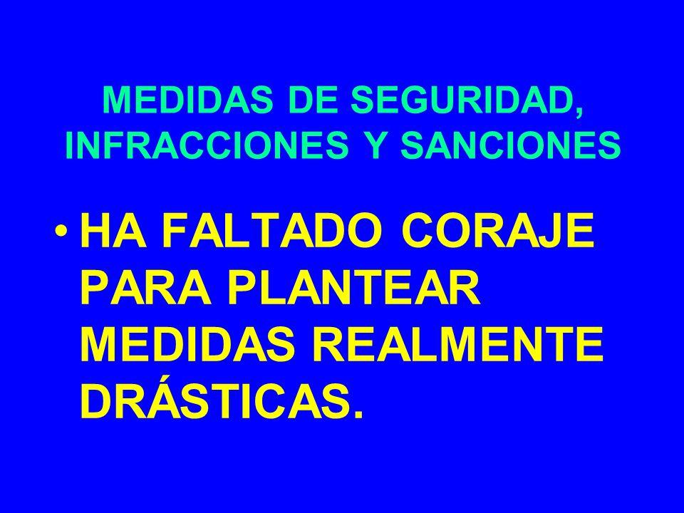 MEDIDAS DE SEGURIDAD, INFRACCIONES Y SANCIONES HA FALTADO CORAJE PARA PLANTEAR MEDIDAS REALMENTE DRÁSTICAS.