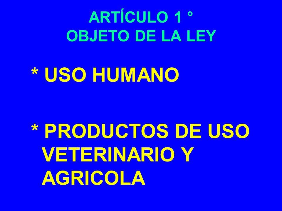 ARTÍCULO 1 ° OBJETO DE LA LEY * USO HUMANO * PRODUCTOS DE USO VETERINARIO Y AGRICOLA