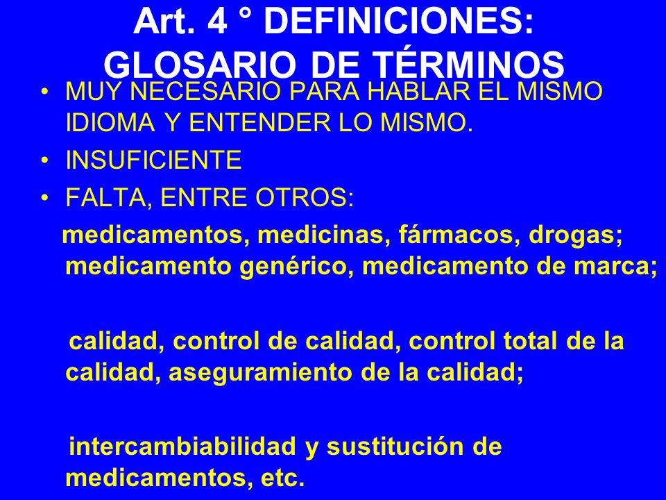 Art. 4 ° DEFINICIONES: GLOSARIO DE TÉRMINOS MUY NECESARIO PARA HABLAR EL MISMO IDIOMA Y ENTENDER LO MISMO. INSUFICIENTE FALTA, ENTRE OTROS: medicament