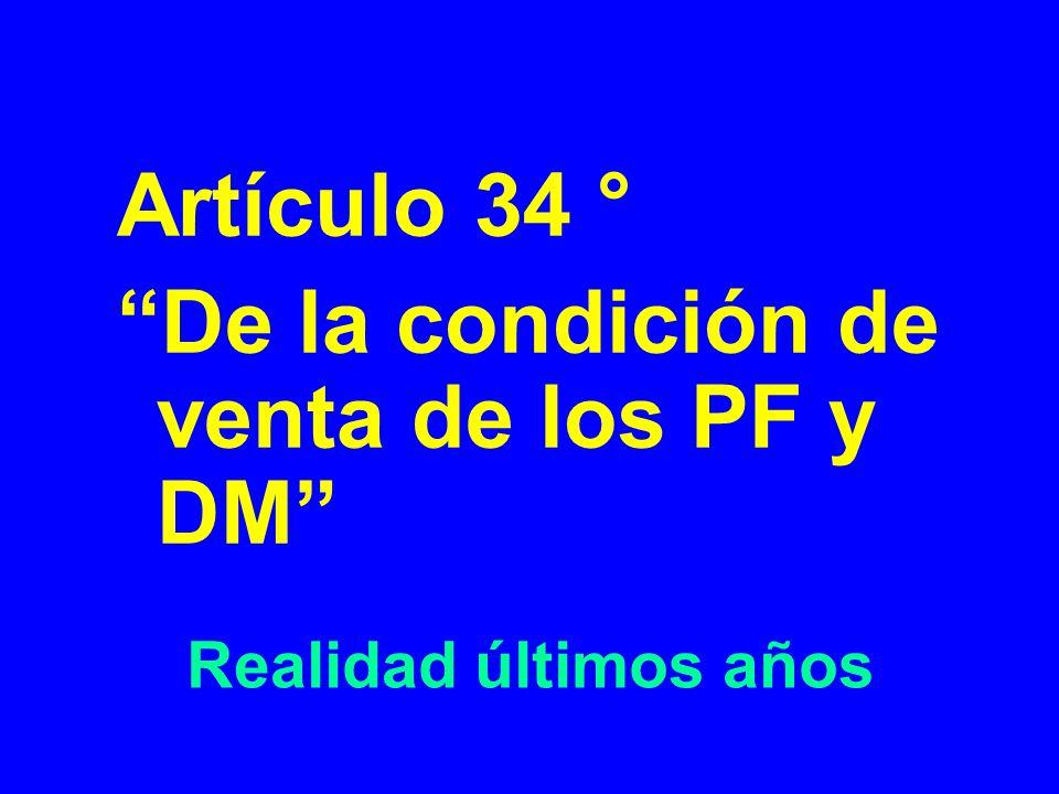 Realidad últimos años Artículo 34 ° De la condición de venta de los PF y DM