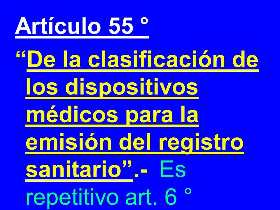Artículo 55 ° De la clasificación de los dispositivos médicos para la emisión del registro sanitario.- Es repetitivo art. 6 °
