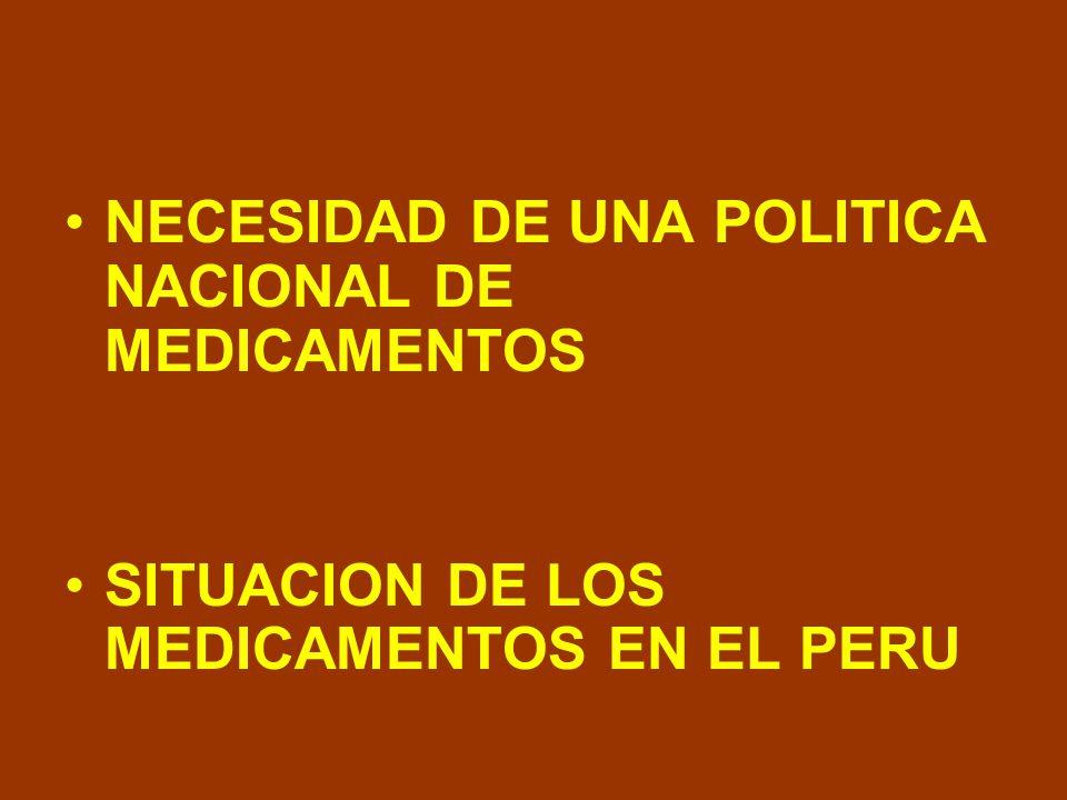 LINEAMIENTOS DE POLITICA 1.Acceso universal a medicamentos esenciales 2.Regulación y calidad de los medicamentos 3.Promoción del uso racional de medicamentos